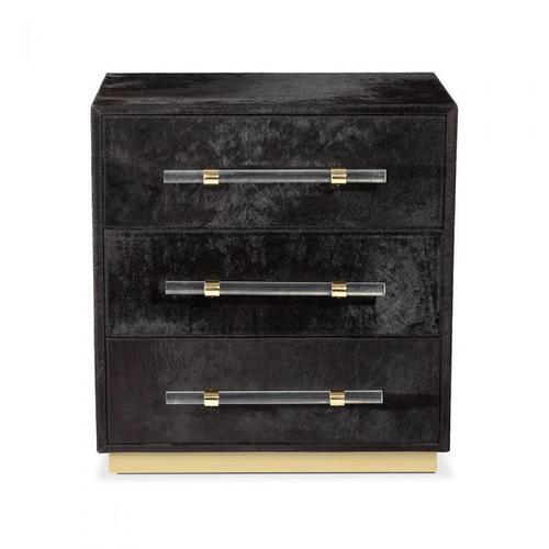 Cassian 3 Drawer Chest - Black/ Brass