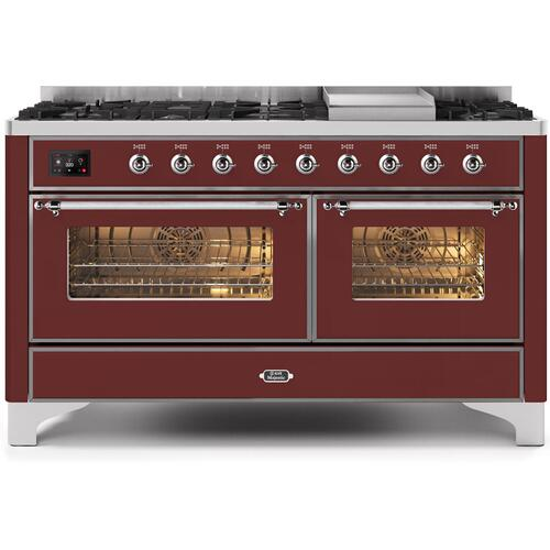 Ilve - Majestic II 60 Inch Dual Fuel Natural Gas Freestanding Range in Burgundy with Chrome Trim