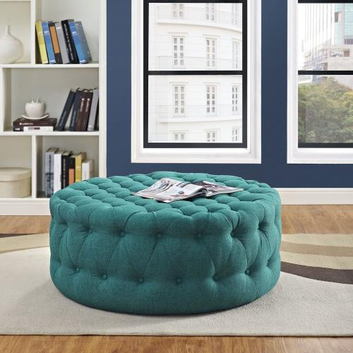 Amour Upholstered Fabric Ottoman in Teal