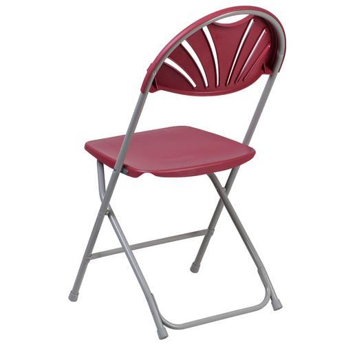 Flash Furniture - HERCULES Series 650 lb. Capacity Burgundy Plastic Fan Back Folding Chair