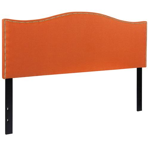 Lexington Upholstered Queen Size Headboard with Accent Nail Trim in Orange Fabric