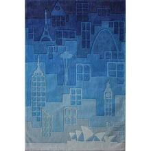 Lil Mo Hipster Urban Landscape Lmt-11 Blue - 2.0 x 3.0