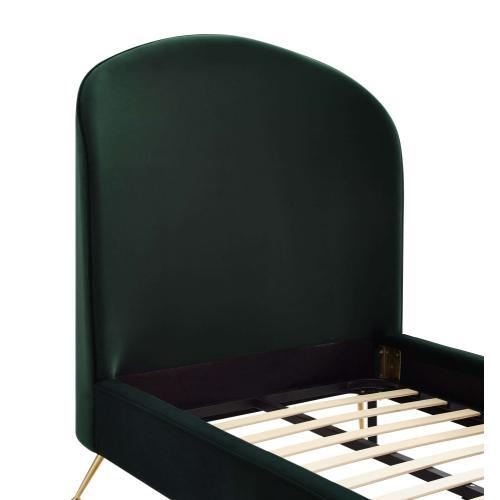 Vivi Forest Green Velvet Bed in Twin