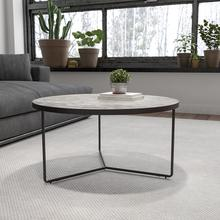 """See Details - Providence Collection 31.5"""" Round Indoor Living Room Coffee Table in Faux Concrete Finish"""