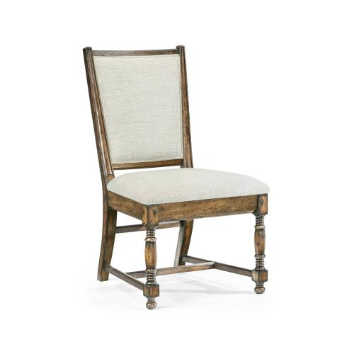 Distressed Country Medium Driftwood Side Chair, Upholstered in Shambala