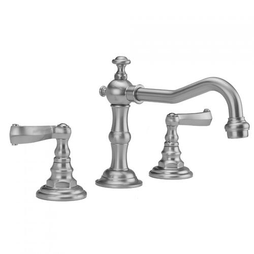 White - Roaring 20's Faucet with Ribbon Lever Handles & Fully Polished & Plated Pop-Up Drain