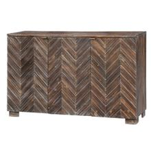 See Details - Jackson Raised 3 Door Chevron Rustic Wood Sideboard