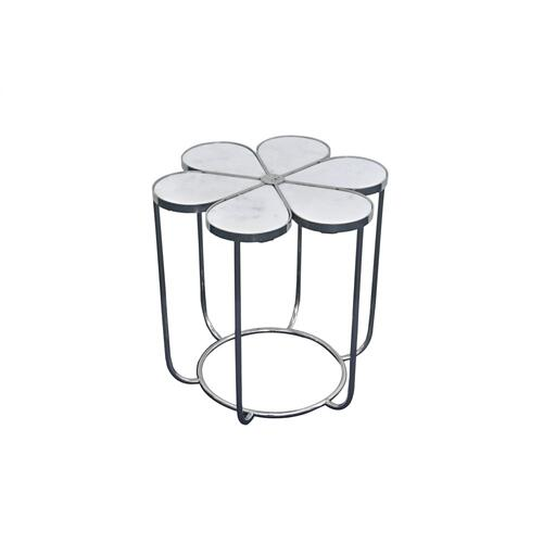 Chantilly White Marble and Metal Accent Table