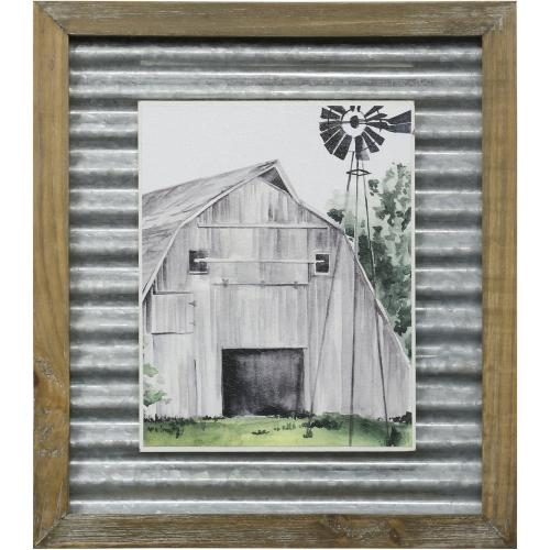Style Craft - WEATHERED BARN II  14in X 16in  Made in the USA  Textured Framed Print