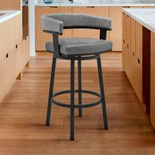 """View Product - Lorin 30"""" Bar Height Swivel Bar Stool in Black Finish and Grey Faux Leather"""