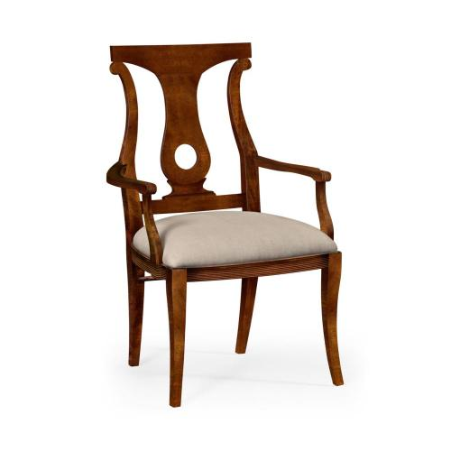 Mahogany Brown Lock Dining Armchair