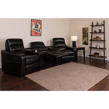 See Details - Futura Series 3-Seat Reclining Black LeatherSoft Theater Seating Unit with Cup Holders
