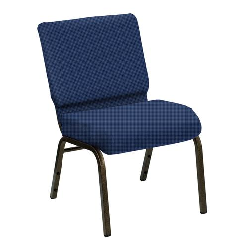 Wellington Frosted Blue Upholstered Church Chair - Gold Vein Frame