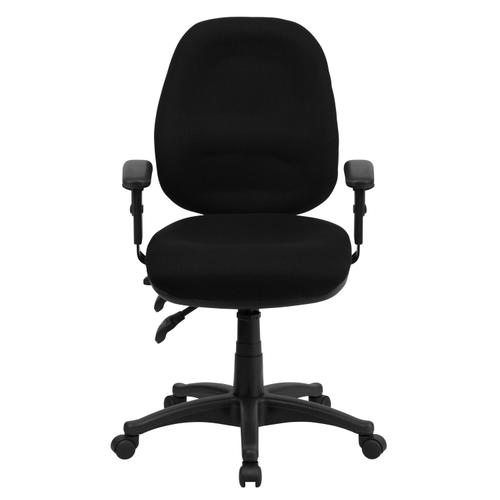 Gallery - Mid-Back Black Fabric Multifunction Executive Swivel Ergonomic Office Chair with Adjustable Arms
