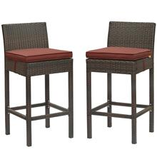Conduit Bar Stool Outdoor Patio Wicker Rattan Set of 2 in Brown Currant