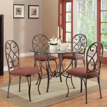"5 PC 42"" Rd. Dining Set / Metal-Glass"