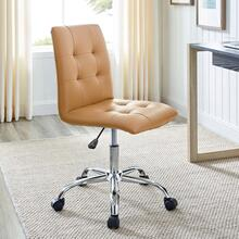 Ripple Armless Mid Back Vinyl Office Chair in Tan