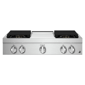 """36"""" NOIR™ Gas Professional-Style Rangetop with Chrome-Infused Griddle"""