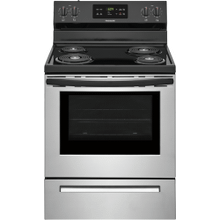Refurbished Frigidaire 30'' Electric Range. (This is a Stock Photo, actual unit (s) appearance may contain cosmetic blemishes.  Please call store if you would like actual pictures).  This unit carries our 6 month warranty, MANUFACTURER WARRANTY and REBATE NOT VALID with this item. ISI 44710