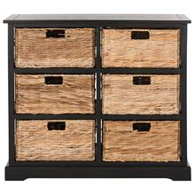 See Details - Keenan 6 Wicker Basket Storage Chest - Distressed Black