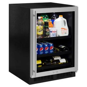 Marvel24-In Built-In Beverage Center With Split Convertible Shelves with Door Style - Stainless Steel Frame Glass, Door Swing - Right