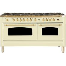 Nostalgie 60 Inch Dual Fuel Natural Gas Freestanding Range in Antique White with Brass Trim