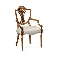 Sheraton Dining Arm Chair with Shield Back in Brown Mahogany, Upholstered in COM