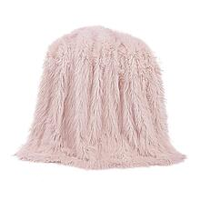 Mongolian Faux Fur Throw Blanket (6 Colors) - Blush