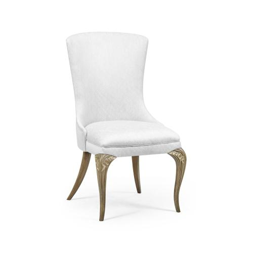Rounded Rivoli Walnut Dining Side Chair, Upholstered in COM