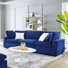 Commix Down Filled Overstuffed Performance Velvet 3-Seater Sofa in Navy