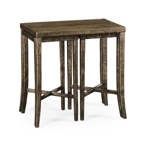 Nesting Cocktail Tables in Dark Driftwood