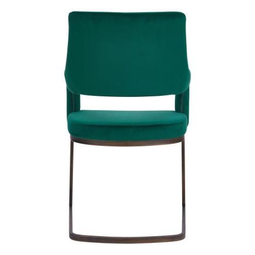 1060010362 In By New Pacific Direct In Stillwater Ok Raquel Kd Velvet Fabric Chair Rubbed Gold Legs Jade Green