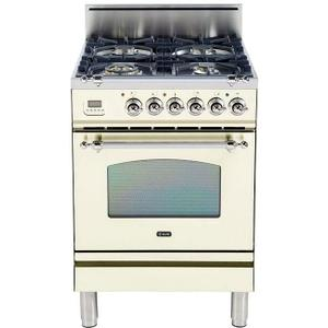 Ilve - Nostalgie 24 Inch Gas Natural Gas Freestanding Range in Antique White with Chrome Trim