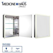 See Details - Medicinehaus Recessed Single Mirrored Door Medicine Cabinet with Outlet, Defogger, LED Power Button and Dimmer for Light