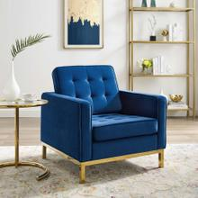 Loft Gold Stainless Steel Performance Velvet Armchair in Gold Navy