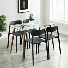 Abbot/Bruno 5pc Dining Set, Black