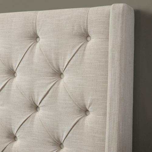 Contemporary Tufted Shelter Queen Headboard in Oatmeal Beige