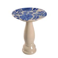 See Details - Brandy - Blue Glazed Birdbath
