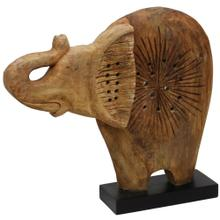 See Details - Native Elephant  20in X 4in X 17in Natural Wood Table Top Carved Sculpture