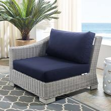 Conway Sunbrella® Outdoor Patio Wicker Rattan Left-Arm Chair in Light Gray Navy