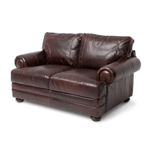 Newbury Leather LoveSeat in Chocolate Espresso