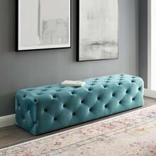 "Amour 72"" Tufted Button Entryway Performance Velvet Bench in Sea Blue"