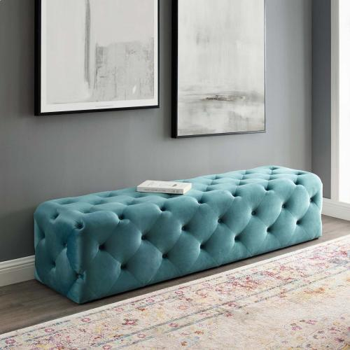"""Amour 72"""" Tufted Button Entryway Performance Velvet Bench in Sea Blue"""