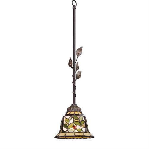 Latham 1-Light Mini Pendant in Tiffany Bronze with Tiffany Style Glass