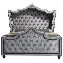 """Hudson Grey Velvet Canopy Bed - 87"""" W x 87"""" D x 72"""" H"""