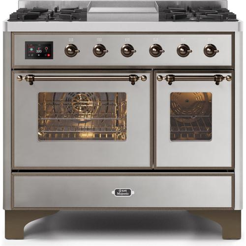 Majestic II 40 Inch Dual Fuel Natural Gas Freestanding Range in Stainless Steel with Bronze Trim