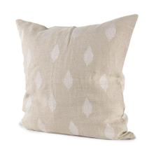 Enya 18L x 18W Beige and Cream Fabric Patterned Decorative Pillow Cover