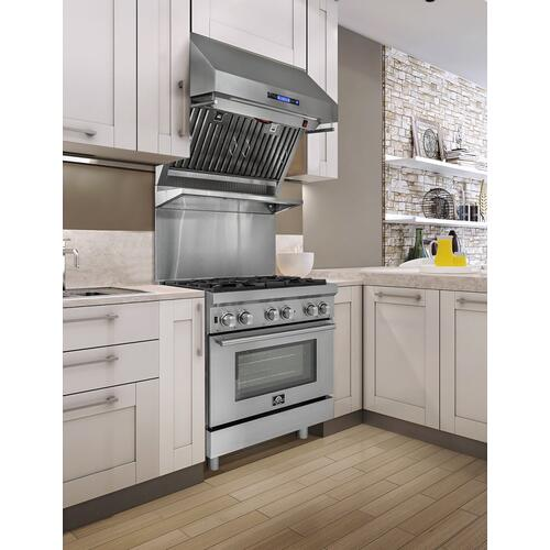 """Forno 30"""" Stainless Steel Dual Fuel Pro-Style with 5 Defendi Italian Burners"""