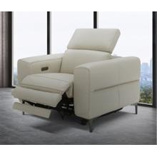 Divani Casa Meadow Light Grey Leather Electric Recliner with Electric Headrest