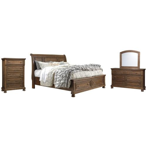 Queen Sleigh Bed With 2 Storage Drawers With Mirrored Dresser and Chest
